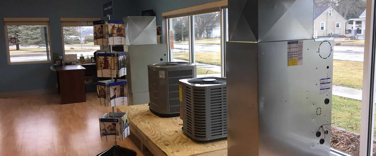 Showroom at Kelso Heating & Cooling in St. Joseph Illinois