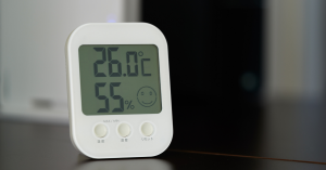 Thermostat and humidistat showing temperature and humidity